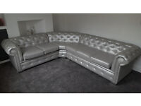 5 Seater Chesterfield Leather Corner Sofa (Any Colour) (Other Sizes Available)