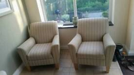 Cream striped armchairs