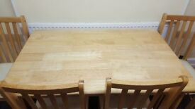 Pine dining table + 4 chairs