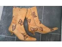 Kitten Heel Unique butterfly boots size 5