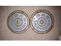 4 x 5kg Golds Gym metal weight plates