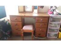 Solid Handmade pine dressing table for sale.