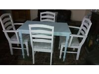 Little Shabby Chic Table and Chairs - duck egg and white