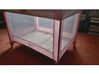 LARGE STRONG PINK TRAVEL COT - EASY TO FOLD AND STRONG