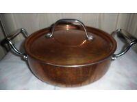 HEAVY COPPER CASSEROLE PAN