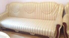 2 piece sofabed suite and armchair gold cream