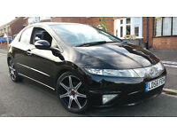 "BLACK 2006 HONDA CIVIC ES 2.2 i-CTDI TD TURBO DIESEL, 18"" ALLOYS, PAN/ROOF, MOT MAY,FINE DRIVE £1850"