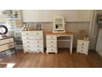 Bedroom set, drawers dressing table mirror and b3dside cabinet