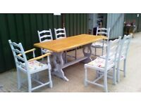 FREE DELIVERY Shabby Chic Dining Table an 6 Chairs, Farmhouse, Grey, Country