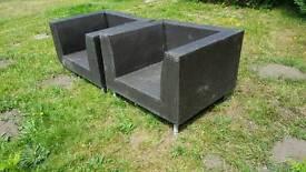 Rattan garden armchairs