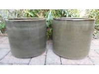 2 LARGE BROWN CERAMIC GARDEN POTS