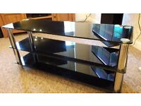 Thick Black Glass TV Stand