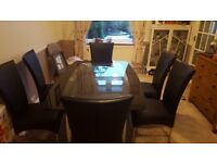 Glass Dining Table - 6 Chairs