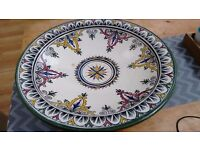 EXTRA LARGE PORTUGESE HAND PAINTED BOWL SIZE 47 CMS DIA.