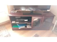 Faux Mahogany TV Unit & Matching glass display cabinet