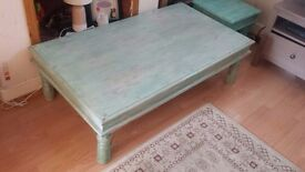 Large Distressed Effect Indian Thakat Coffee Table - Turquoise