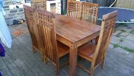 Indian Sheesham dining table and 6 chairs