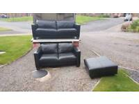 3+2 italian leather sofa with matching footstool