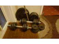 90kgs in solid bars and cast iron weights