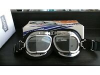 GOGGLES HALCYON MK 4 SILVER CROSS 40S STYLE BRAND NEW