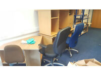3 x desks and computer chairs