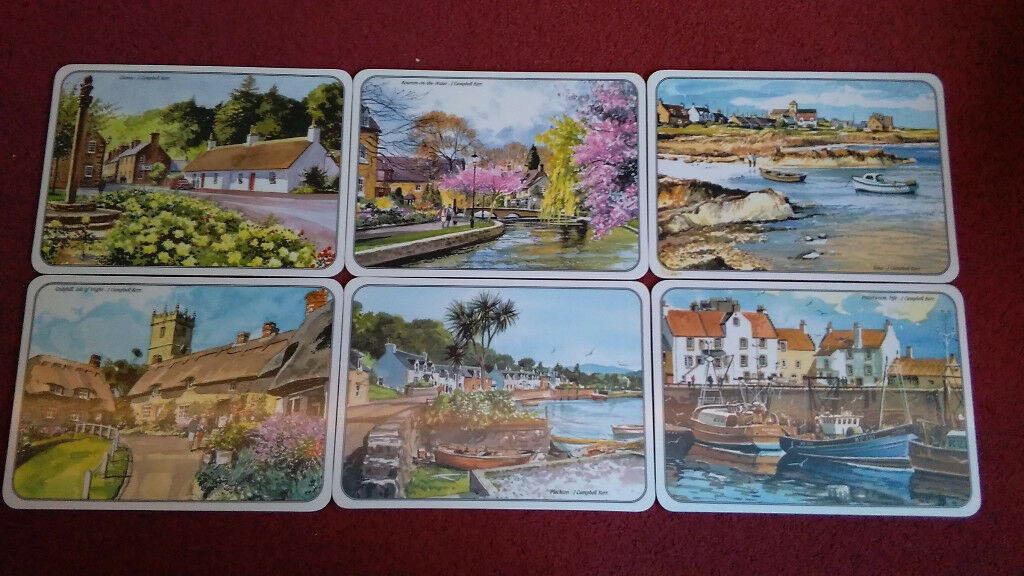 6 Melamine Table Mats - Scottish Places. Never Been Used.