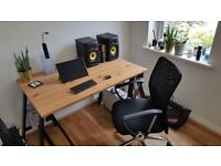 Folding PC Desk with Comfortable Mesh Office Chair