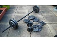 Folding weight bench + 60kg cast iron weights, barbell and dumbell