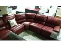 Comfy recliner red suede corner sofa free delivery to greater Manchester