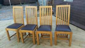 4 Oak-Leather Dining Chairs