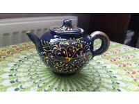 Hand Painted Dark Blue Decorative Teapot