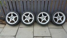 Genuine Enkei RP01 17 inch by 9 inch alloys,nice and light,removed from evo 6