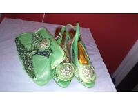 Fashion jewellery, shoe and bag set and ladies dress.