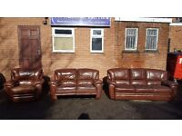 Great brown leather 3 piece sofa suite, 3 and 2 seater sofas and an armchair, can deliver