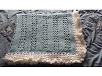Hand made crochet knitted baby blanket boys NEW