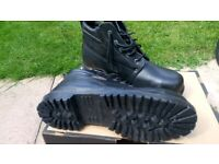 Mens Black Leather Industry Safety work boots Steel toe Size 10