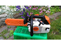 Stihl MS 200T top handled chainsaw. Little used. Starts well and runs well. Instruction manual.