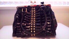 Black and Gold Diamond Handbag