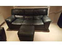 Dark Green Leather 3 Seater, 2 Seater and Footstall - FREE LOCAL DELIVERY NEED GONE AT THE WEEKEND