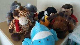 Collection of large stuffed toys animals