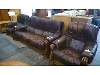 Leather 3 piece suite with carved wood design