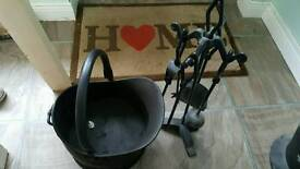 Coal bucket and fire tools