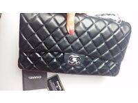 Chanel Double Flap | XL | Black | Silver Trim | Lamb Leather | New