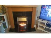 Solid Oak and Granite Electric Fireplace