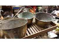 4 VERY OLD BRASS JAM POTS