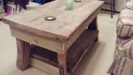 Unique rustic solid wood coffee table