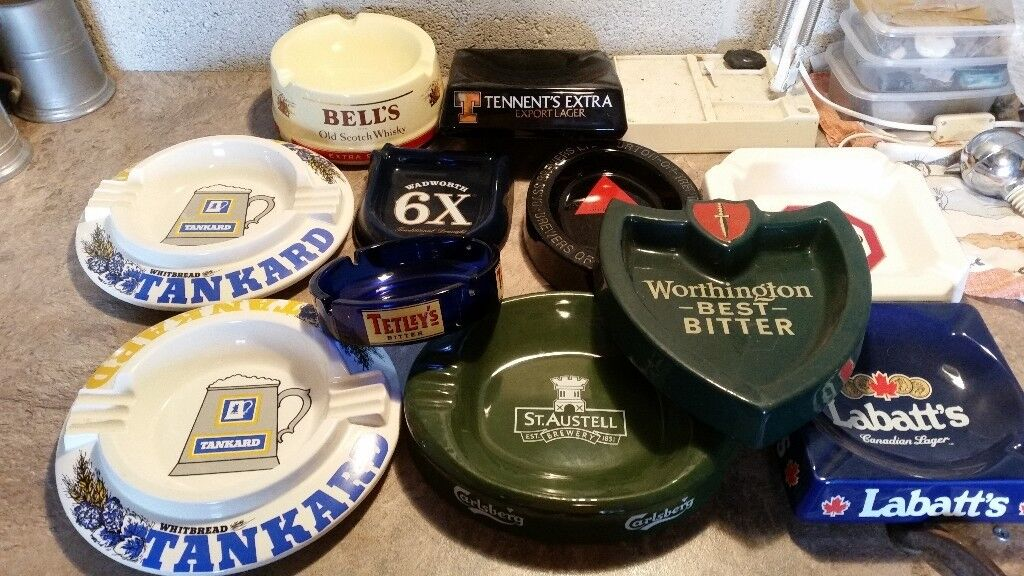 Selection of ceramic and glass ashtrays