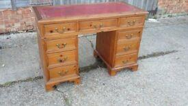 Solid Pine Kneehole Knee hole Pedestal Desk Red Leatherette Top