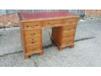 Solid Pine Kneehole Knee hole Pedestal Desk Red Leatherette Top