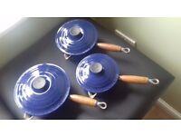 Le Creuset Saucepans x 3 Royal Blue Colour